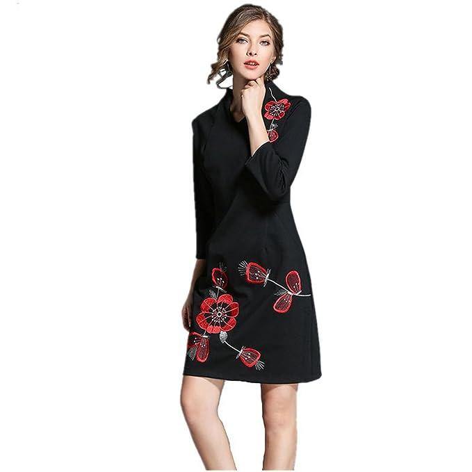 c04913377bcf SONGQINGCHENG Nuova Donna Autunno Abito Moda Più Recente Di Alta Qualità Nero  Ricamo Pista Vestito Elegante Slim Abiti