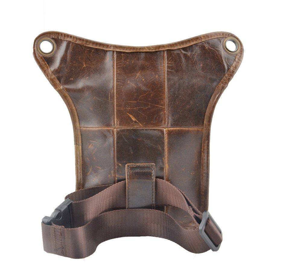 GENDA 2ARCHER Men's Upscale Genuine Leather Mini Shoulder Messenger Purse Waist Thigh Pack Tactical Bag AZ3002