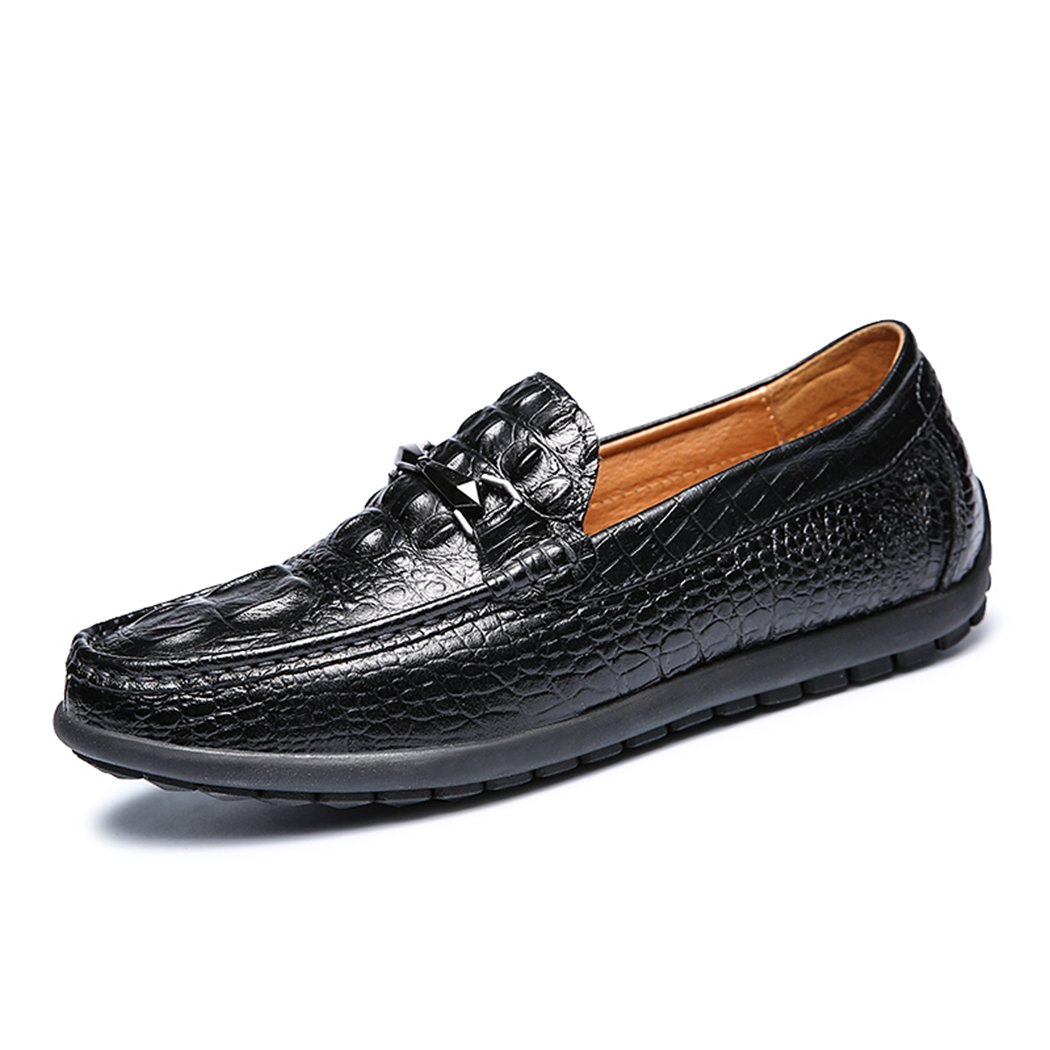 Men's Loafers Casual Slip Ons Driving Office Work School Shoes Flats First Layer Black US8.5