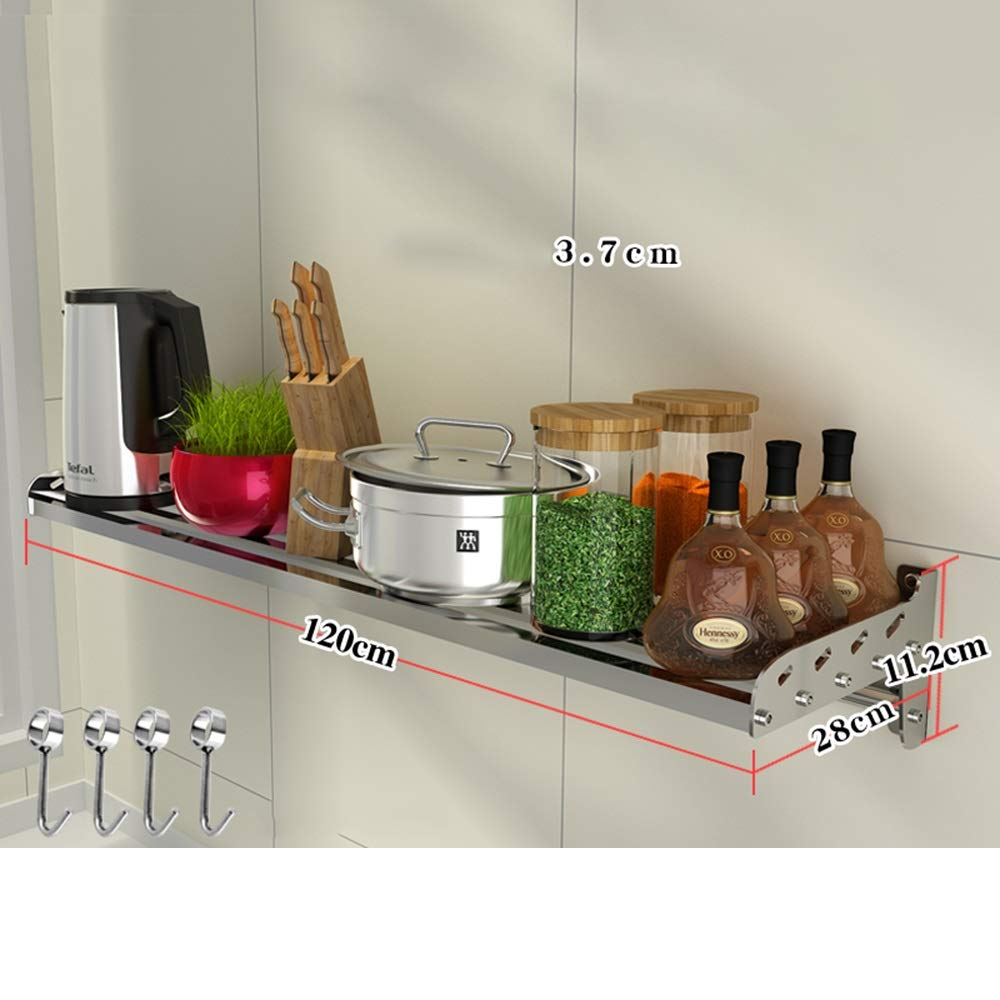 HUO 304 Stainless Steel Kitchen Rack Wall-Mounted Partition Bracket Kitchen Storage Rack Multifunction (Color : 28CM, Size : 120cm)