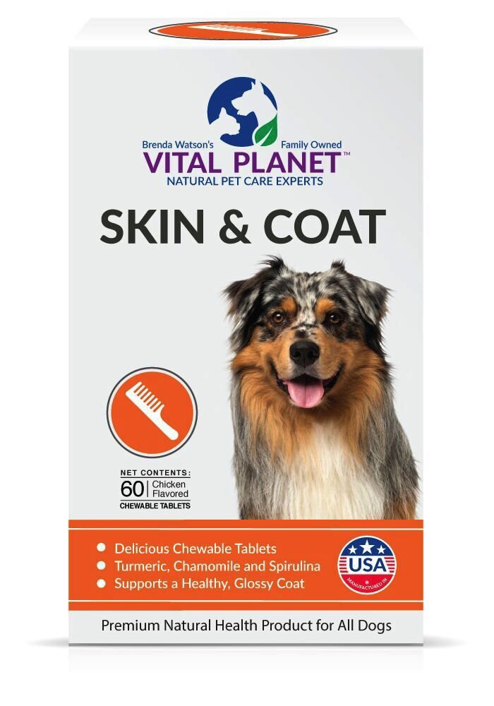 Vital Planet Skin and Coat Chewable Tablets – Omega 3 Fatty Acid Supplement for Dogs – Ultimate Support for a Healthy Coat – 60 Chewable Tablets