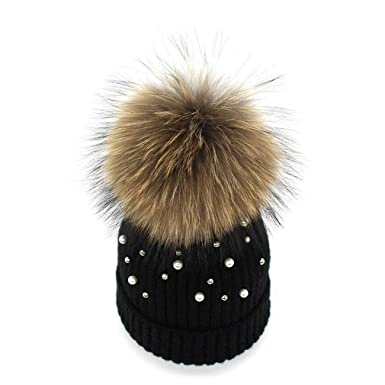 3f4ff6e17e2 Womens Girls Winter Cotton Knitted Beanie Bobble Hats Warm Cap with Beads  Large Fur Pom Pom Snowboard Hats Outdoor Climbing Ski Cap- ONE Size  Amazon. co.uk  ...