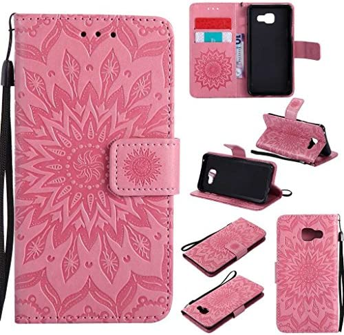 KKEIKO Galaxy A3 2016 Case, Galaxy A3 2016 Flip Leather Case [with Free Tempered Glass Screen Protector], Shockproof Bumper Cover and Premium Wallet Case for Samsung Galaxy A3 2016 (Pink)