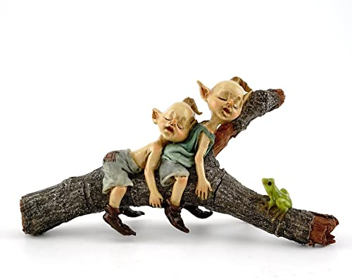 Top Collection Miniature Fairy Terrarium Twin Garden Pixies Napping on Tree Log Statue, Small