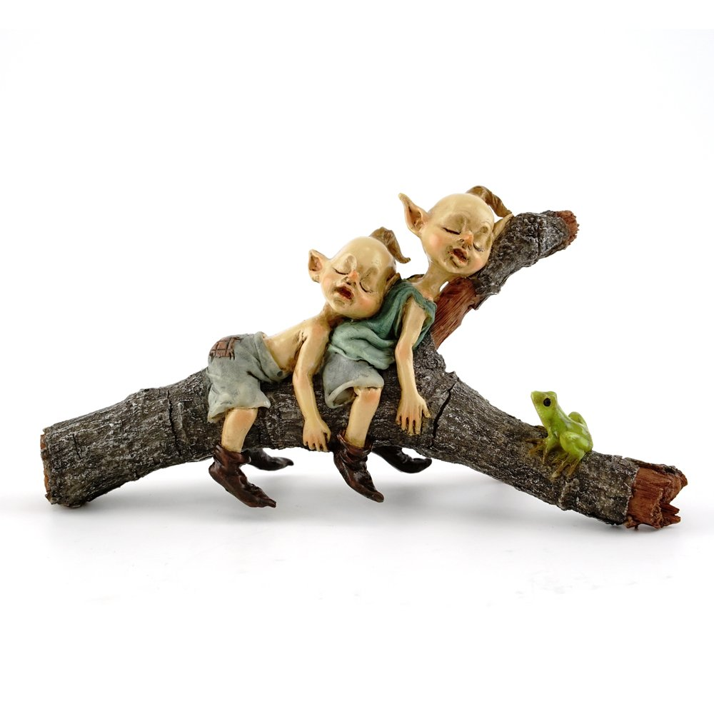 Top Collection Miniature Fairy & Terrarium Twin Garden Pixies Napping on Tree Log Statue, Small