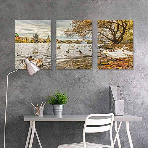 Canvas Pictures sticker Murals ,Landscape Prague Charles Bridge and Old Town Czech Republic Riverside Scenic View with Swans,for Living Room,Dinning Room, Bedroom 3 panels,16x24inchx3pcs Gold Grey