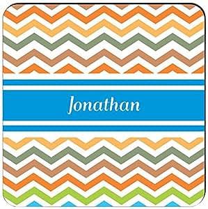 Rikki Knight Jonathan Blue Chevron Name Design Square Fridge Magnet