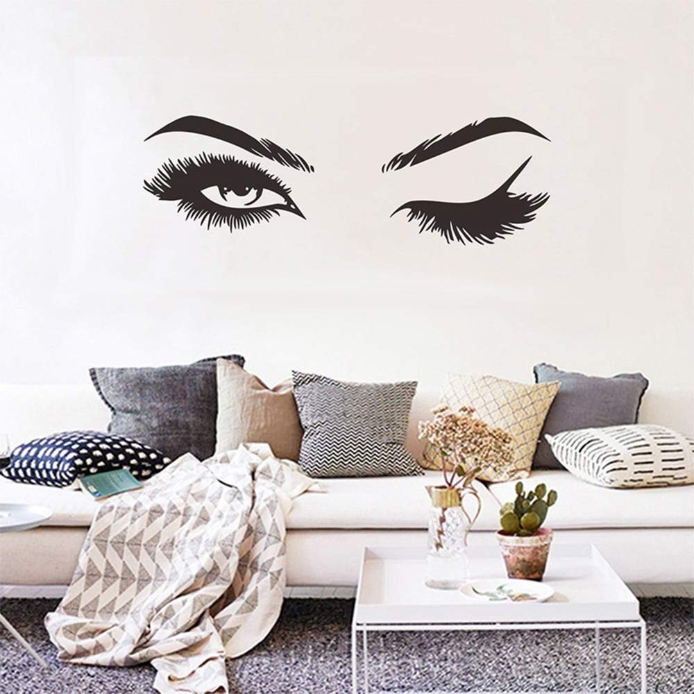 Creative Eyelash Wall Decal Stickers Home Decoration Bedroom Living Room Decor Sofa TV Background DIY Art Decals for Women Girl
