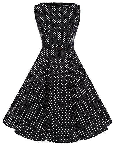 Rockabilly Black Vintage Vestidos White Retro Bbonlinedress Clásico Dot 50s w4pgqg