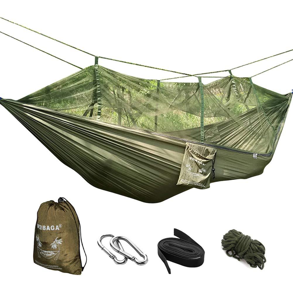 VOBAGA Hamaca con Mosquitera para 2 Persona,Hamaca Portátil para Camping Jardin Terraza Acampada Viaje Colgante para Dormir Relajar Carga 200 kg (260 X ...