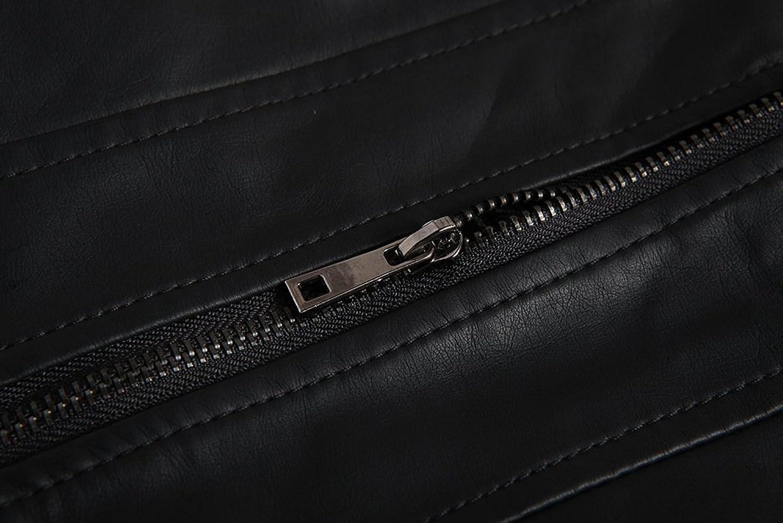 LJYH Men's Vintage Faux-Leather Fashion Bomber Jacket