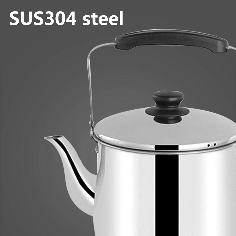 compatible con todos los hornos electromagn/éticos o de gas Hervidor de agua de acero inoxidable grueso para el hogar olla grande con grandes fronteras con base plana