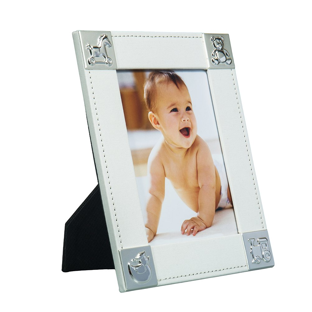 Fine & Elegant Baby Photo Frame 5x7'' Perfect Gift for a Boy or Girl Newborn with Silver Plated Corners (Design: Animals) by Modali Baby USA
