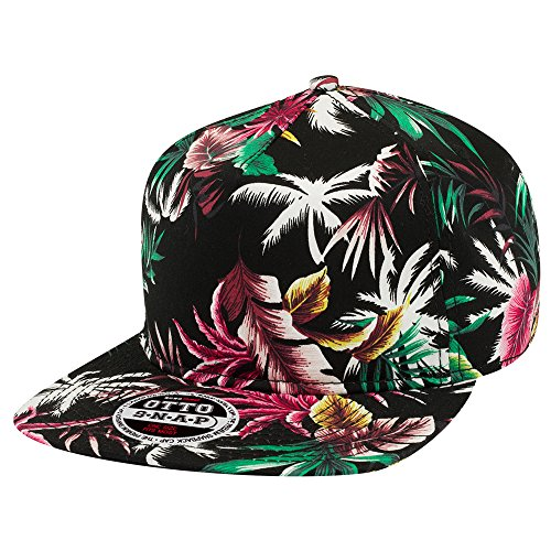 Armycrew Hawaiian Print 5 Panel Cotton Twill Flat Bill Adjustable Snapback Cap - DESIGN2 - 5 Panel Twill Structured Cap
