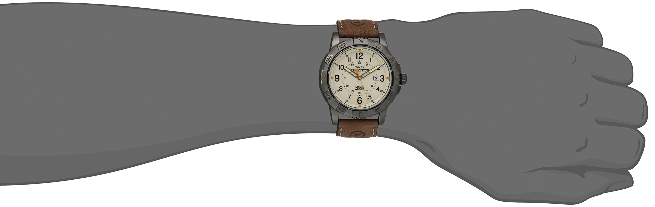 Timex Men's T49990 Expedition Rugged Metal Brown/Natural Leather Strap Watch by Timex (Image #3)