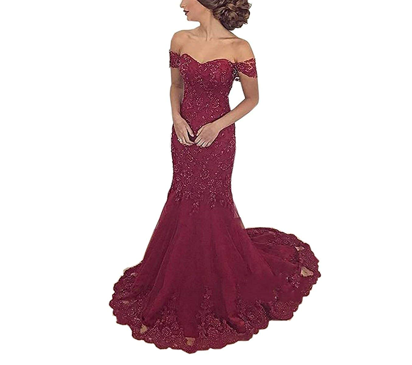 Style11 Wine Red Engerla Bridal Mermaid Prom Dress 2019 Women's Lace Party Dress OffTheShoulder Evening Dress