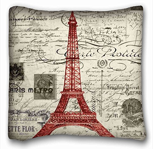 Tarolo Decorative Vintage Red Paris Eiffel Tower Art Throw Pillow Case Cases Cover Cushion Covers Zippered Decorative Sofa Size 16x16 Inches One (Tiger Butterfly Tattoo)