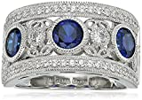 Platinum Plated Sterling Silver Round 3-Stone Created Sapphire Vintage Swarovski Zirconia Accents Ring, Size 8