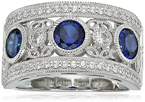 Sapphire Platinum Ring (Platinum Plated Sterling Silver Round 3-Stone Created Sapphire Vintage Swarovski Zirconia Accents Ring, Size 8)