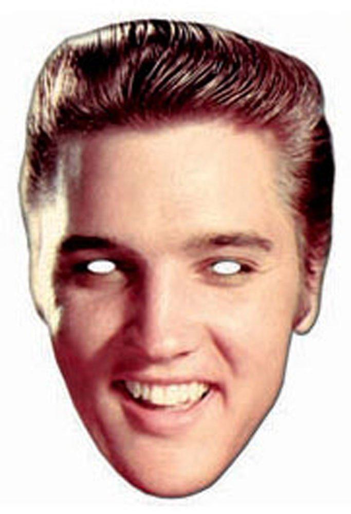 Elvis Presley Rock and Roll Pappmaske aus hochwertigem Glanzkarton mit Augenlöchern, Gummiband - Größe ca. 30x20 cm empireposter