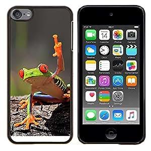 Cubierta protectora del caso de Shell Plástico || Apple iPod Touch 6 6th Touch6 || Fresco de la rana verde de la selva de la criatura @XPTECH