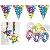 Partydeko Set 8.Geburtstag Kindergeburtstag 9 teilig Mädchen Junge Girlande Luftballon