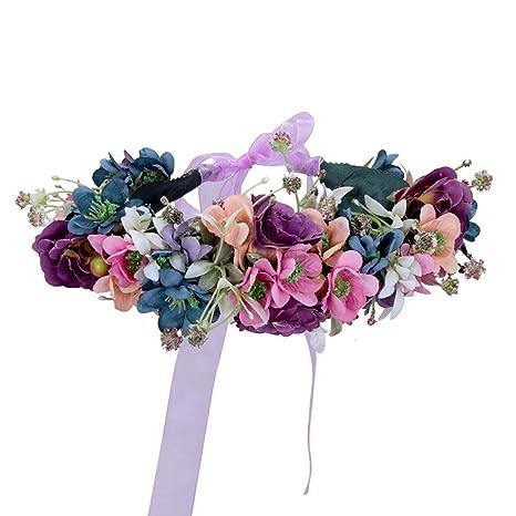 Tiara de flores corona tonos bosque ideal para bodas, fiestas verano barbacoas damas de honor