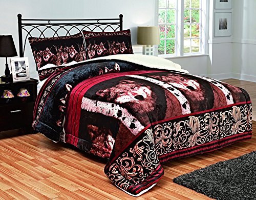 Fancy Collection 3PC Blanket Sumptuously Soft Plush Wolf Face burgundy black brown with Sherpa Winter Blankets Bedspread Super Soft # Wolf Burgundy (Queen)