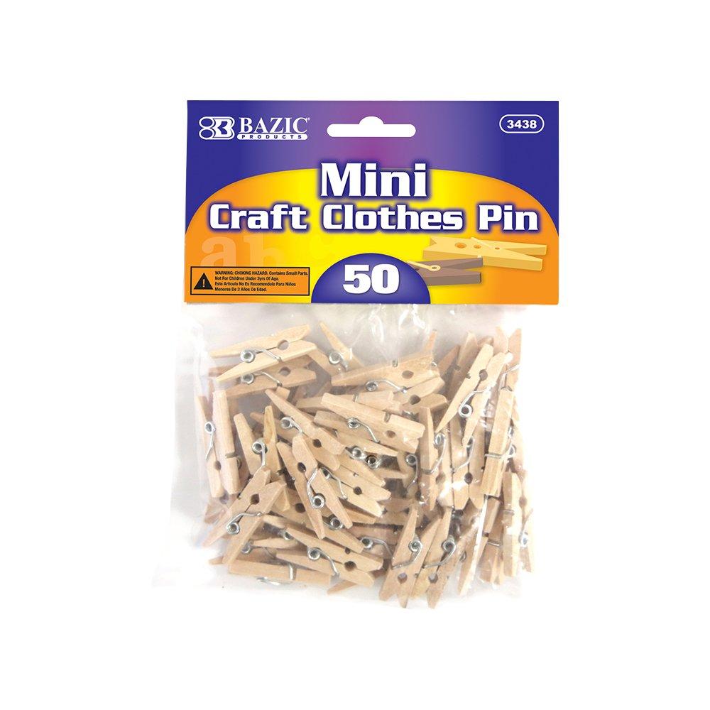 5 Pk, BAZIC Mini, Natural Clothespins, Wood, 50 Per Pack