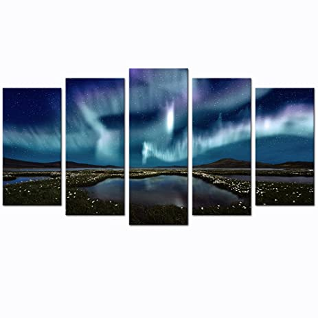 Sea Charm - 5 Panel Wall Art Northern Lights over The Marsh Landscape Canvas Wall Art  sc 1 st  Amazon.com & Amazon.com: Sea Charm - 5 Panel Wall Art Northern Lights over The ...