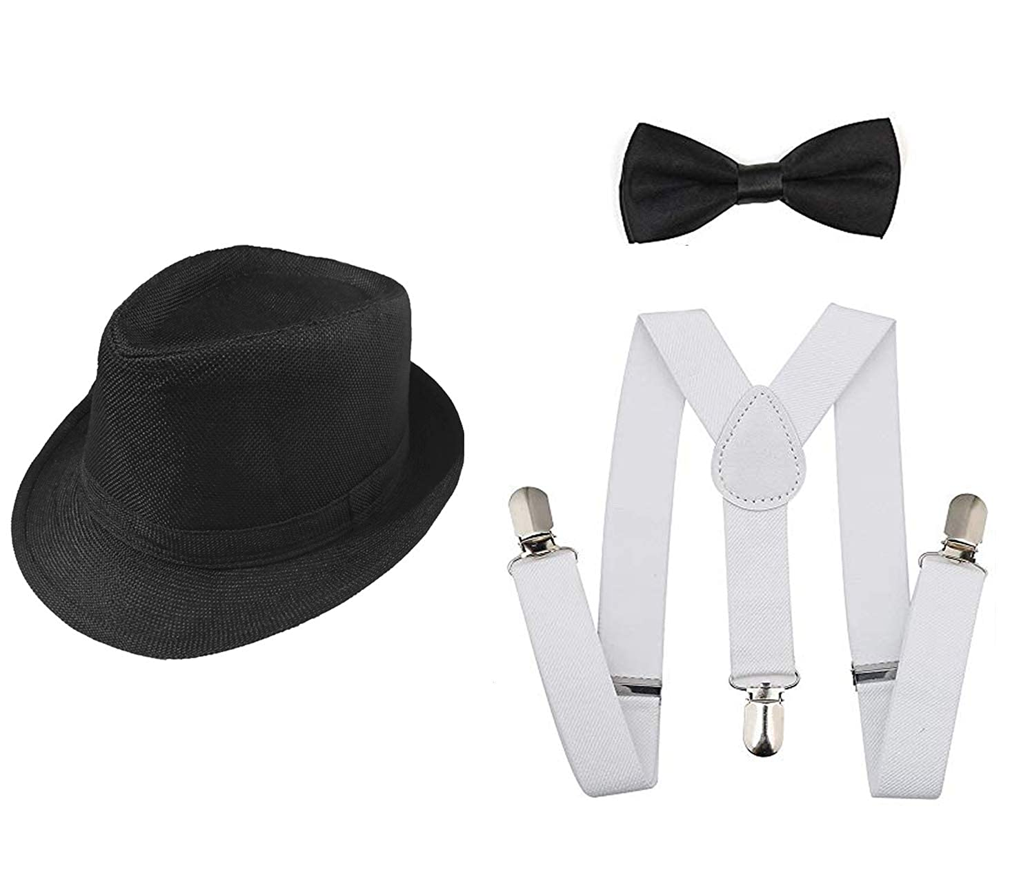 c46675c9087 Amazon.com  1920s Set Fedora Gangster Hat Costume Accessory Y-Back  Suspenders   Pre Tied Bow Tie