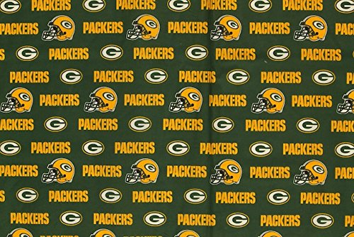 Green Bay Packers Football Green Sheeting Fabric Cotton 5 Oz 58-60