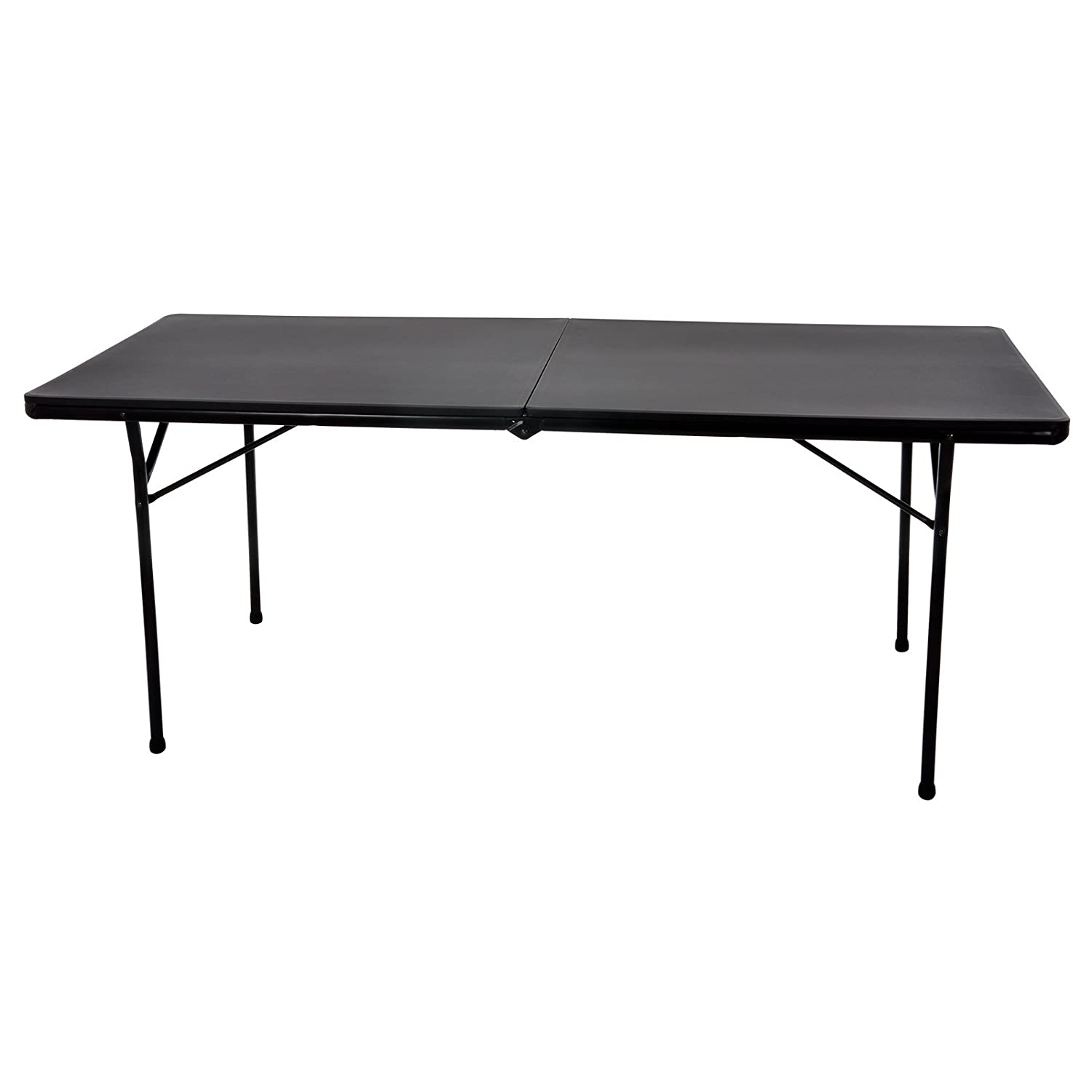 Azuma 6ft Heavy Duty Folding Black Trestle Table Max Load 300 Kilogram BBQ Camping Dining DIY Market Vacuum Moulded Top Locking Legs Portable Indoor Outdoor Use XS-Stock.com Ltd