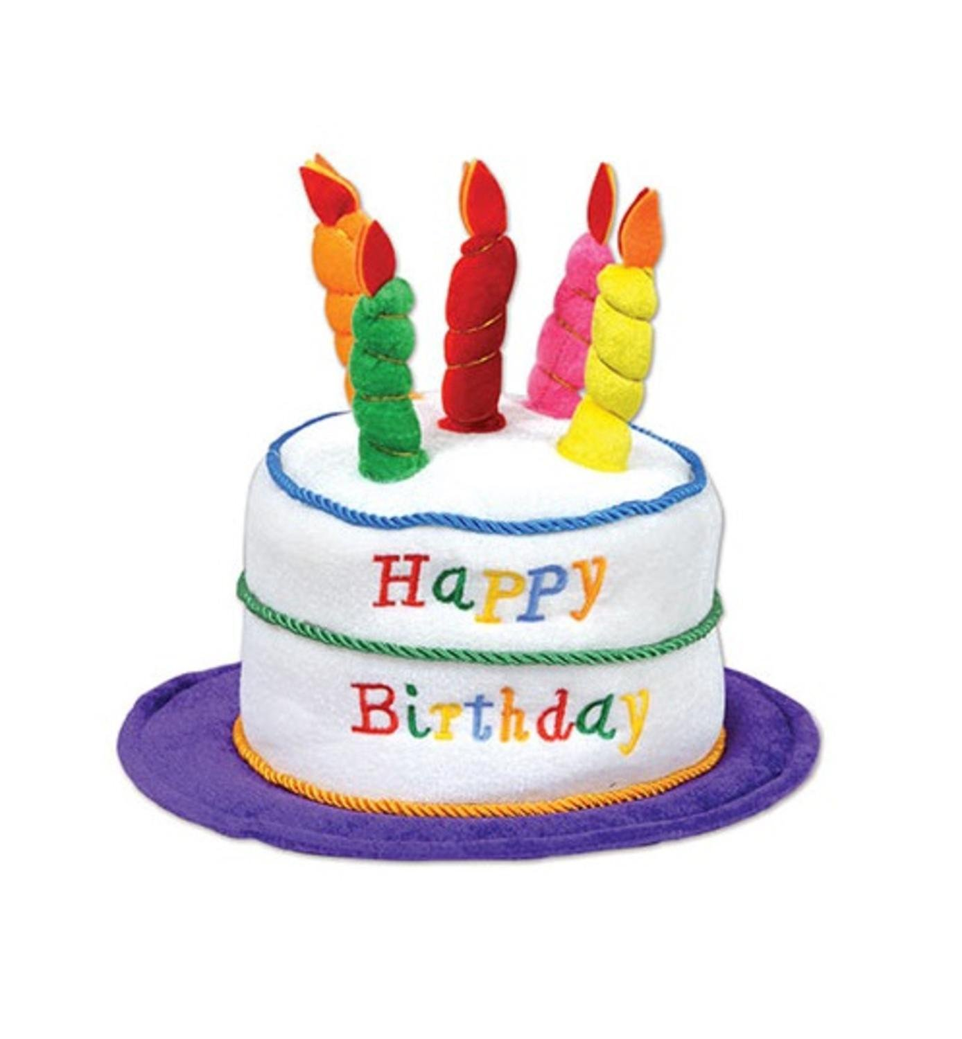 Pack of 12 Plush Multicolored Candle-Lit Birthday Cake Party Costume Hats