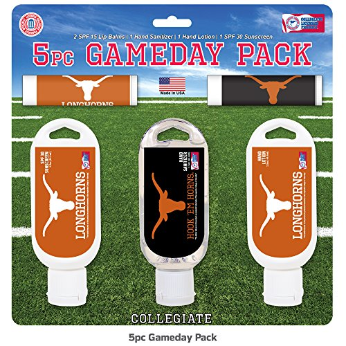 Worthy Promo NCAA Texas Longhorns 5-Piece Game Day Pack with 2 Lip Balms, 1 Hand Lotion, 1 Hand Sanitizer, 1 SPF 30 Sport Sunscreen