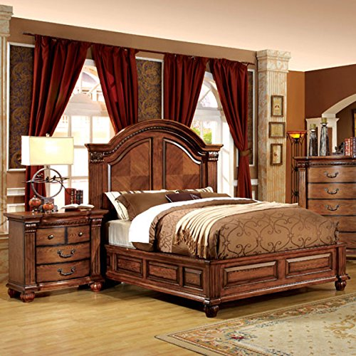 Bellagrand english style antique tobacco oak finish eastern king size 6 piece bedroom set for 6 piece king size bedroom sets