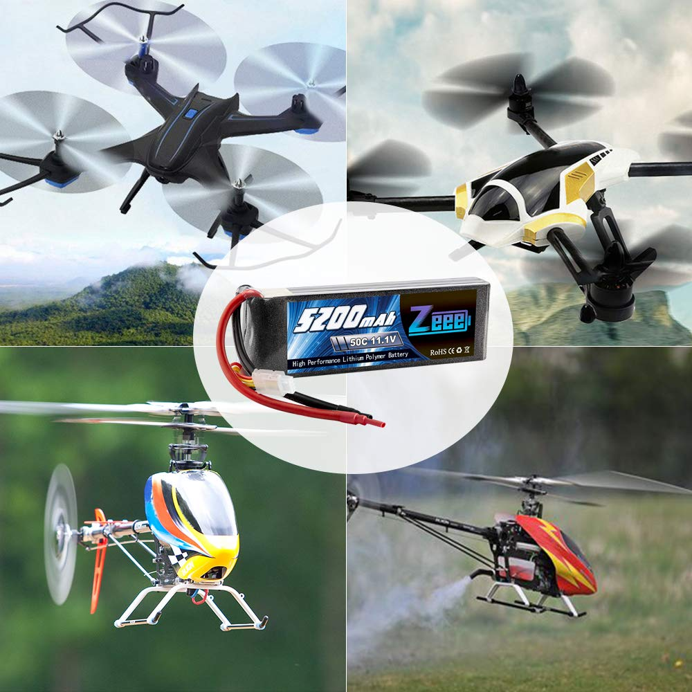 Zeee 5200mAh 50C 11.1V 3S RC Lipo Battery with (XT60 and Deans Connector) for RC Plane, DJI Quadcopter,RC Airplane, RC Helicopter, RC Car/Truck, RC Boat(Short) by Zeee (Image #6)