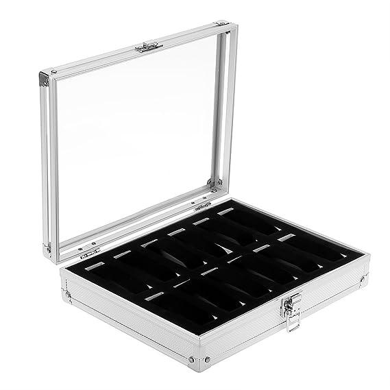 Caja de relojes de aluminio caja de Almacenamiento para Relojes y joyeros con 12 compartimentos: Amazon.es: Joyería