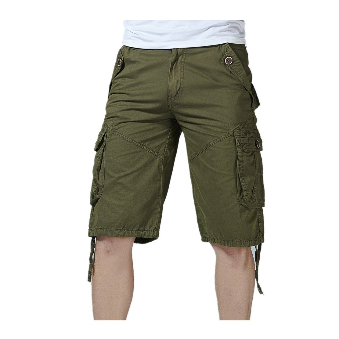 WEUIE Clearance Sale Fashion Mens Casual Pocket Beach Work Casual Short Trouser Shorts Pants (40,Army Green)
