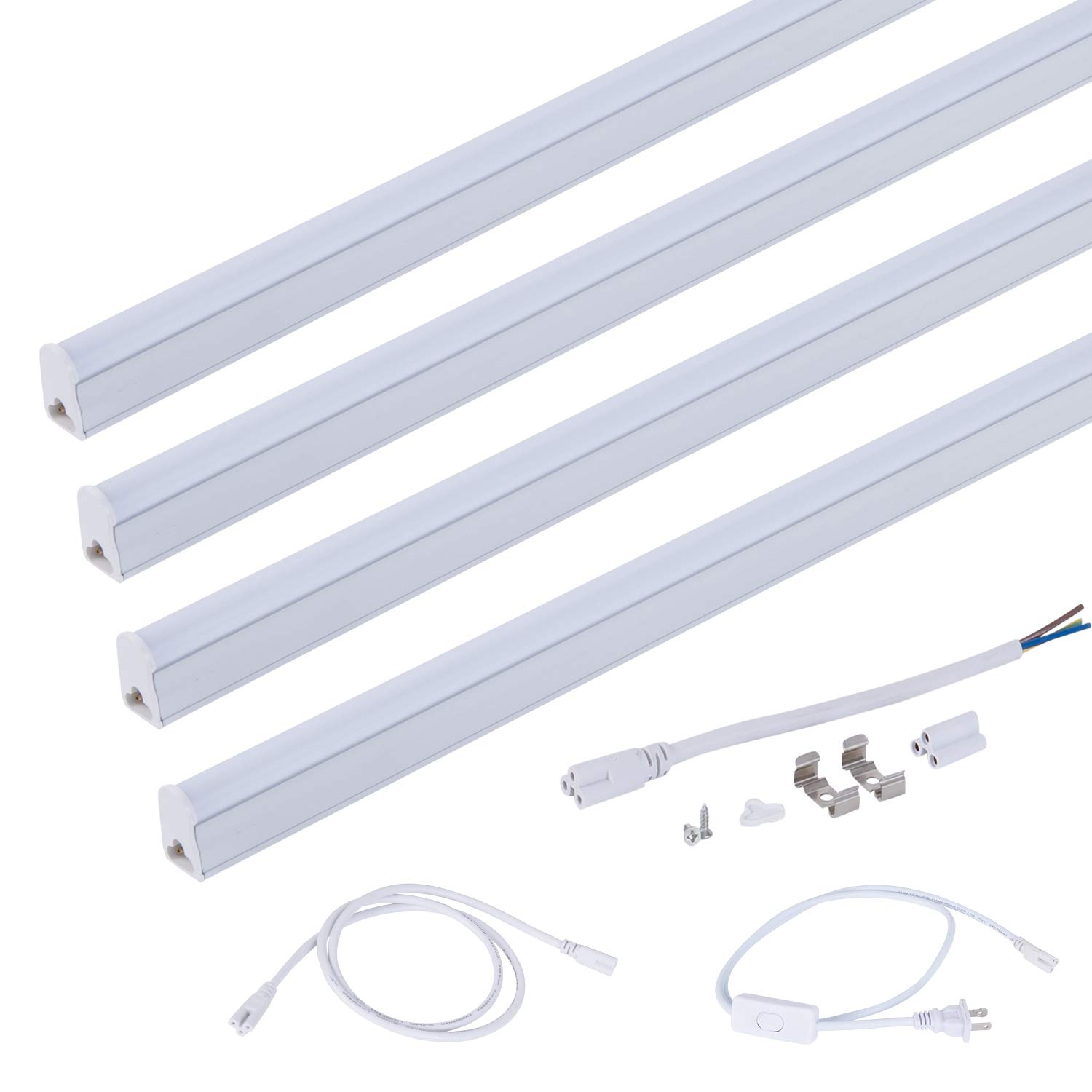LED Shop Light Bulbs 4ft T5 LED Tube Ceiling Single Light Fixture Fluorescent Replacement Lamps for Room Garage(18W 4000K Daylight 4Pack)