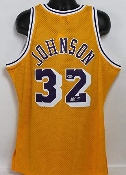 b4926ed05758 Image Unavailable. Image not available for. Color  Magic Johnson  Autographed Signed Los Angeles Lakers M N Jersey ...