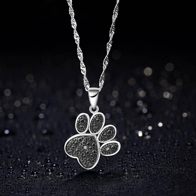 Amazon GemsChest 925 Sterling Silver Cute Dog Cat Paw Print