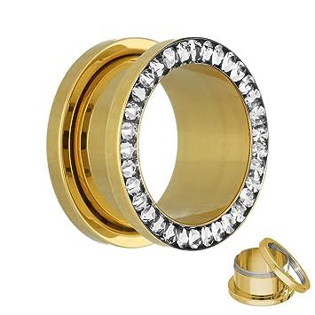 Cristal Flesh Túnel en oro – Con Cristales Transparentes – 17 tamaños: 2 – 30