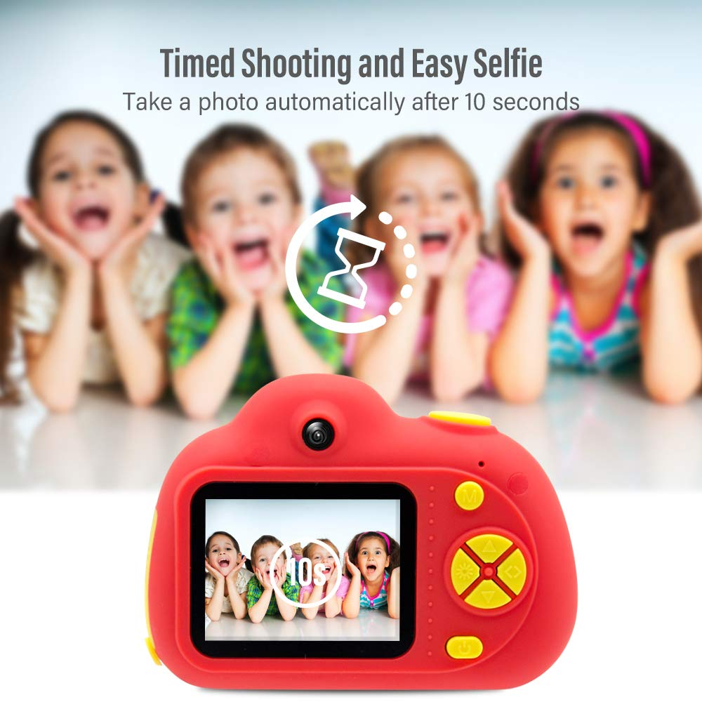 [16GB Memory Card Included] Veroyi Kids Camera 8.0MP Rechargeable Digital Front and Rear Selfie Camera Child Camcorder, Toys Gift for 4-10 Years Old Boys and Girls (Red) by Veroyi (Image #7)