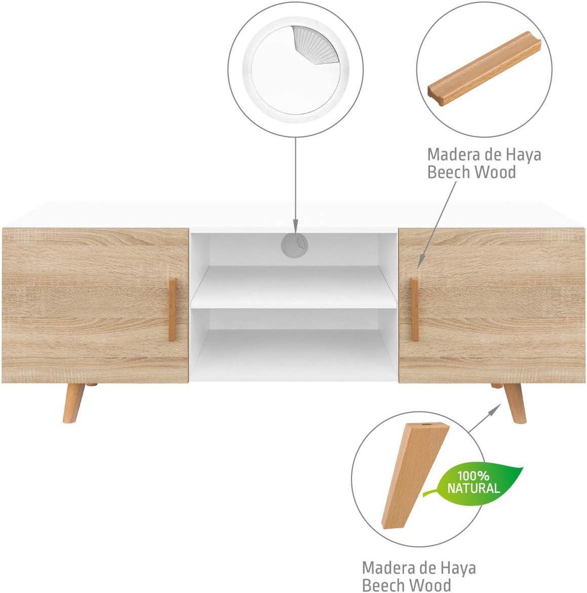 ch/êne /Meuble TV Salon Style Moderne Nordique Table t/él/évision Couleurs: Blanc Blanc//ch/êne 140/x 42/x 50/cm comifort tv85/