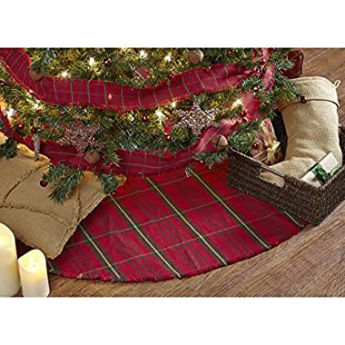 Jasper Woven Red Plaid Christmas Tree Skirt, 48 Inches, Holiday Decoration