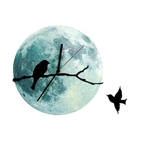 Amazoncom AENMIL 30cm Moon Moonlight Wall Clock with Bird on