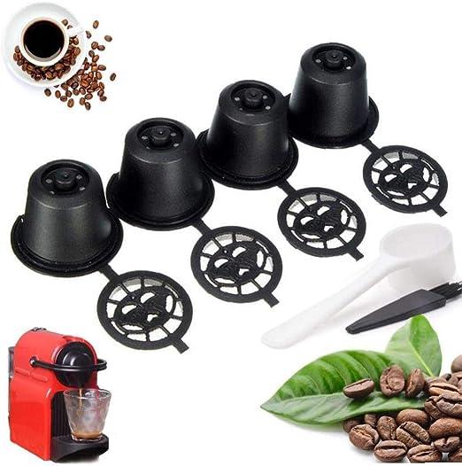Aisoway 4-Pack Filtro Reutilizable del Café por Taza Individual Cafetera Universal Recargable De Tierra Taza De Café: Amazon.es: Hogar