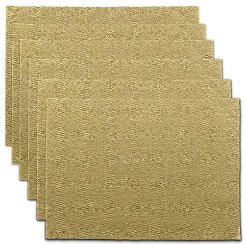 CAIT CHAPMAN HOME COLLECTION Holiday Woven Texture Design PVC Rectangular Heat Insulation Texteline Placemat (Gold), Set of 6 (Christmas Gold Placemats)