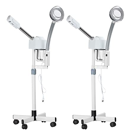 SUNCOO Set of 2 2 in 1 Professional Ozone Facial Steamer 5X Magnifying Lamp Floor Stand Spa Beauty Facial Clean Skin Care Equipment